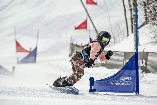 Hannah Teter competing in the Special Olympics Unified Snowboarding Final for X Games at Buttermilk on Thursday.