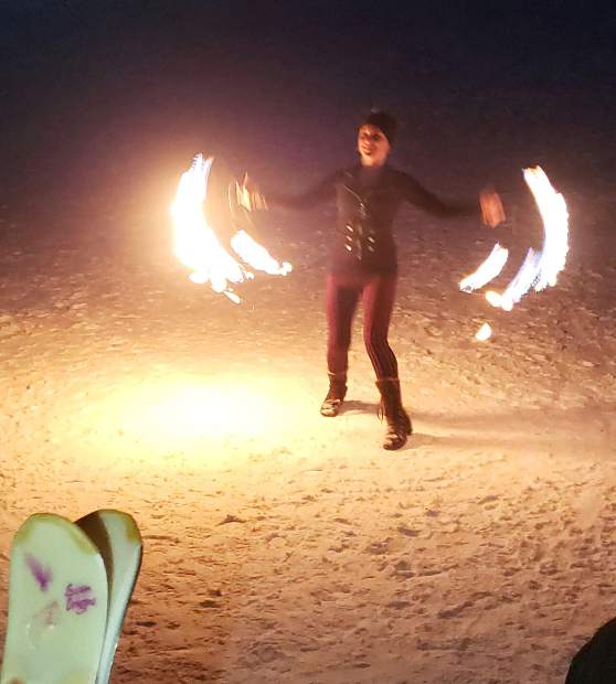 Saturday at Sunlight Mountain's Ski Spree festival ended with fireworks and fire dancers near the base lodge.