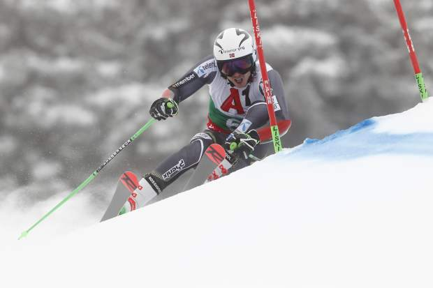 Norway's Henrik Kristoffersen speeds down the course during a men's World Cup giant-slalom, in Bansko, Bulgaria, Sunday, Feb. 24, 2019. (AP Photo/Gabriele Facciotti)