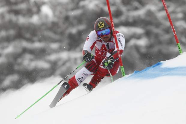Austria's Marcel Hirscher speeds down the course during a men's World Cup giant-slalom, in Bansko, Bulgaria, Sunday, Feb. 24, 2019. (AP Photo/Gabriele Facciotti)