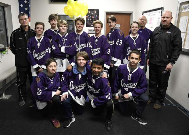 The Glenwood Grizzly Bantam Hockey team pose for a picture before they shaved their heads Thursday.