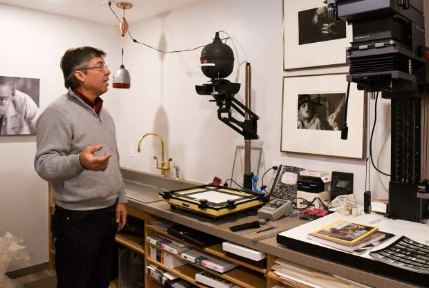 Klaus Kocher in his personal darkroom in the basement of his home.