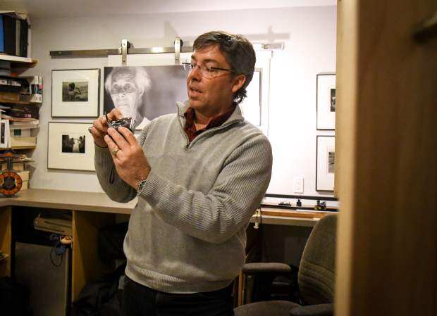 Klaus Kocher talking about one of his many vintage cameras he has been collecting all his life.