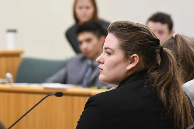 Glenwood Springs High School student Nicole Powell competes in the Mock Trial regional competition at the Garfield County Courthouse on Saturday morning.
