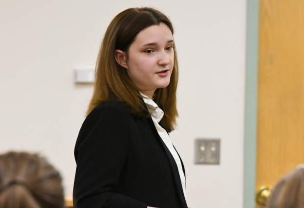 Yarrow Attor, Glenwood Springs High School student, competes in the Mock Trial regional competition at the Garfield County Courthouse on Saturday morning.