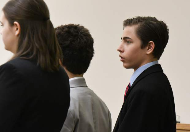 William Ransom Marshall, a student at Glenwood Springs High School, competes in the Mock Trial regional competition at the Garfield County Courthouse on Saturday morning. Marshall's team won the tournament.
