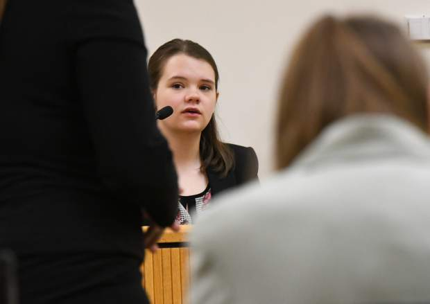 Glenwood Springs High School student Lily Webber plays a witness while competing in the Mock Trial regional competition at the Garfield County Courthouse on Saturday morning. Webber's team won the regional tournament..