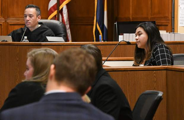 Rifle High School student Elena Nunez plays a witness in the mock trial regional competition at the Garfield County Courthouse on Saturday. Students from Grand Junction, Glenwood Springs, Rifle and New Castle took part in the trials the weekend.