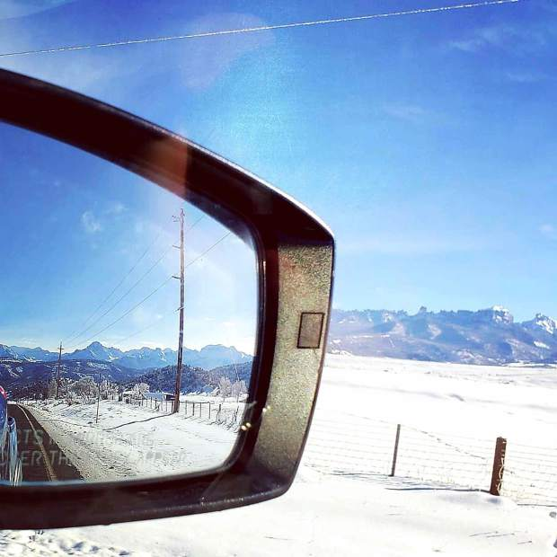 @mgauldin14 – Snowy landscape in the rearview #postsnaps