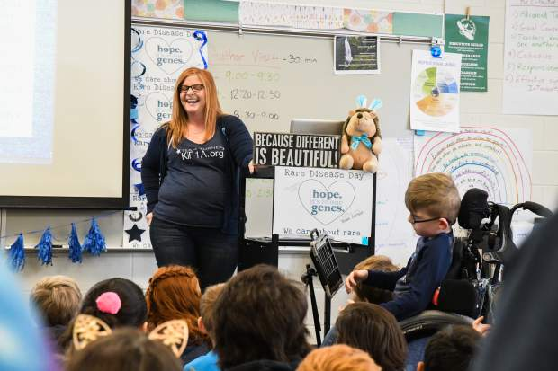 Jenni Fautsko speaks about Rare Disease Day to third-graders at Sopris Elementary School on Thursday morning. Her son, Turner, was diagnosed with the rare disease KiF1A and is a third-grader at Sopris.