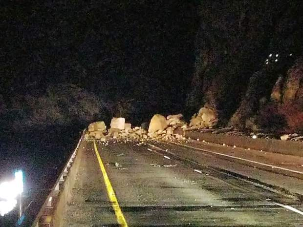 The main rockslide hit about 1 a.m. Tuesday
