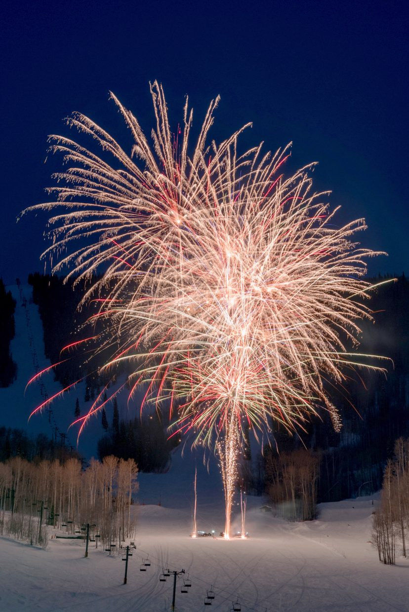 Fireworks light up Midway run at Sunlight Mountain Resort Saturday evening as part of the Ski Spree festivities.