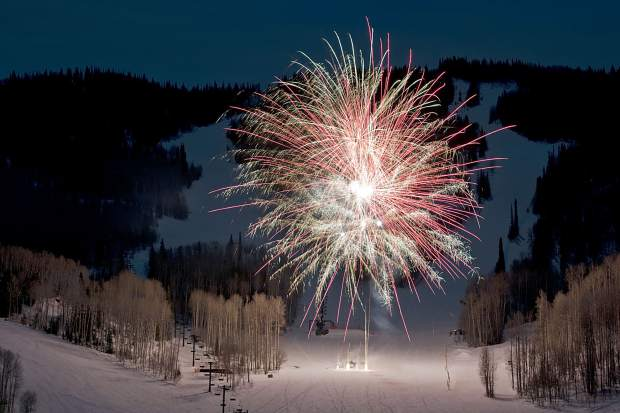 Fireworks light up the sky above Sunlight Mountain Resort during a past Ski Spree event.