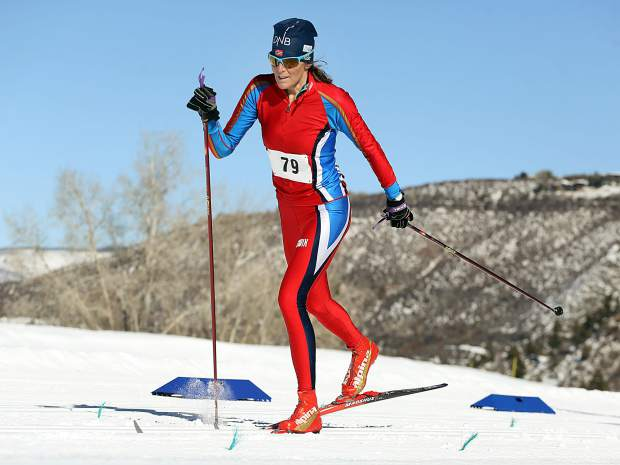 Aspen's Natalie Trecker competes in the Owl Creek Chase cross-country ski race on Sunday, Feb. 10, 2019, at the Aspen Nordic Center. (Photo by Austin Colbert/The Aspen Times).