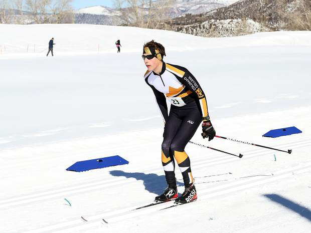 Oliver Jones of Colorado Springs competes in the Owl Creek Chase cross-country ski race on Sunday, Feb. 10, 2019, at the Aspen Nordic Center. (Photo by Austin Colbert/The Aspen Times).
