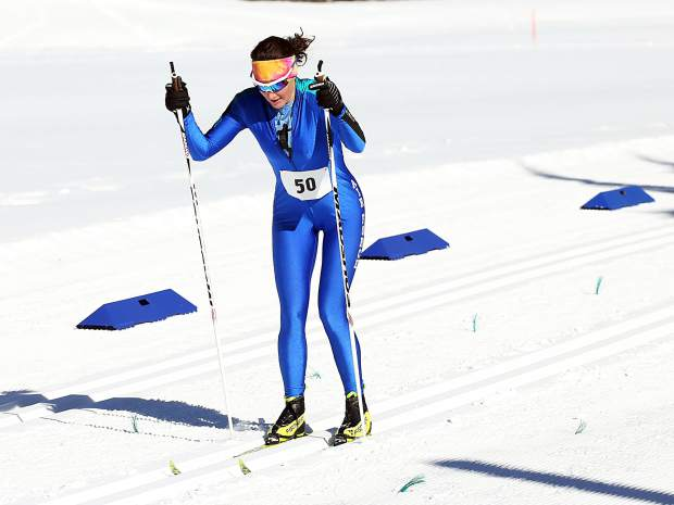 Rebekah Bryant of the United States Air Force Academy competes in the Owl Creek Chase cross-country ski race on Sunday, Feb. 10, 2019, at the Aspen Nordic Center. (Photo by Austin Colbert/The Aspen Times).