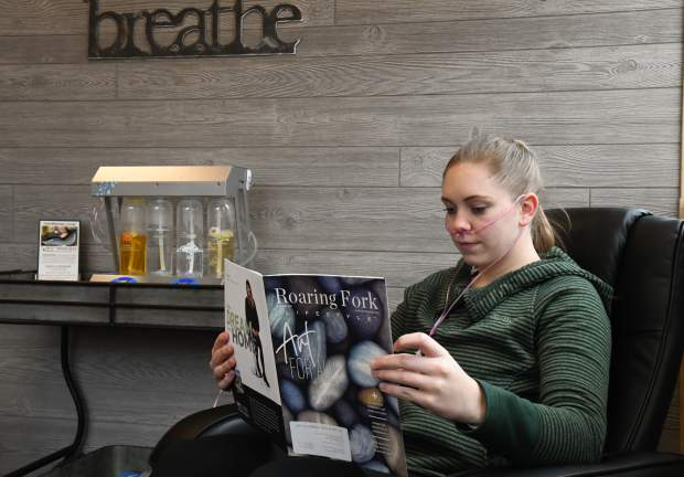Kelly Craig sits back and relaxes at the oxygen bar at 180º Wellness, located off north Midland Avenue.