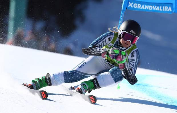 New Zealand's Alice Robinson competes during the first run of a women's alpine ski giant slalom, in Soldeu, Andorra, Sunday, March 17, 2019. (AP Photo/Alessandro Trovati)