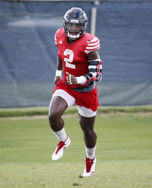 FILE - In this Aug. 21, 2018, file photo, Florida Atlantic linebacker Azeez Al-Shaair runs through drills during football practice in Boca Raton, Fla. Al-Shaair views his NFL future differently from most other prospects in Indianapolis this week for the scouting combine. He's not driven by fame or fortune. What the linebacker out of Florida Atlantic really wants is an opportunity to help his family. (AP Photo/Wilfredo Lee, File)