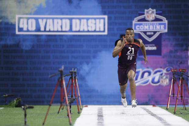 USC defensive back Iman Marshall runs the 40-yard dash during the NFL football scouting combine, Monday, March 4, 2019, in Indianapolis. (AP Photo/Darron Cummings)