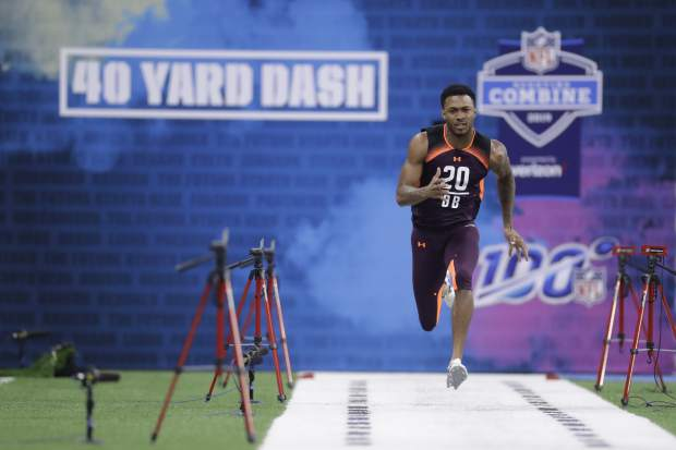 Michigan State defensive back Justin Layne runs the 40-yard dash during the NFL football scouting combine, Monday, March 4, 2019, in Indianapolis. (AP Photo/Darron Cummings)