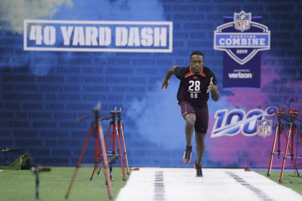Mississippi State defensive back Jamal Peters runs the 40-yard dash during the NFL football scouting combine, Monday, March 4, 2019, in Indianapolis. (AP Photo/Darron Cummings)