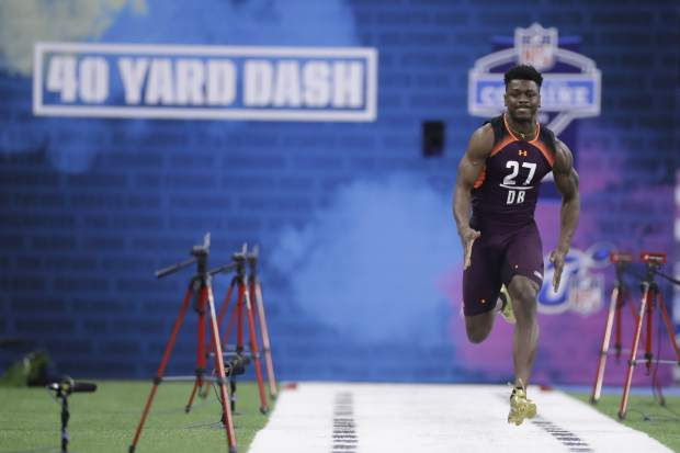 Penn State defensive back Amani Oruwariye runs the 40-yard dash during the NFL football scouting combine, Monday, March 4, 2019, in Indianapolis. (AP Photo/Darron Cummings)