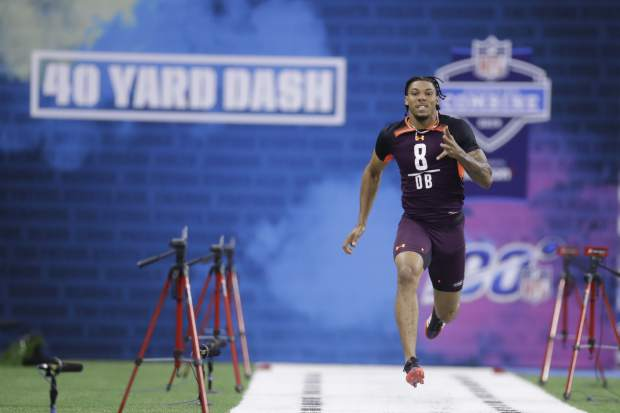 Central Michigan defensive back Sean Bunting runs the 40-yard dash during the NFL football scouting combine, Monday, March 4, 2019, in Indianapolis. (AP Photo/Darron Cummings)