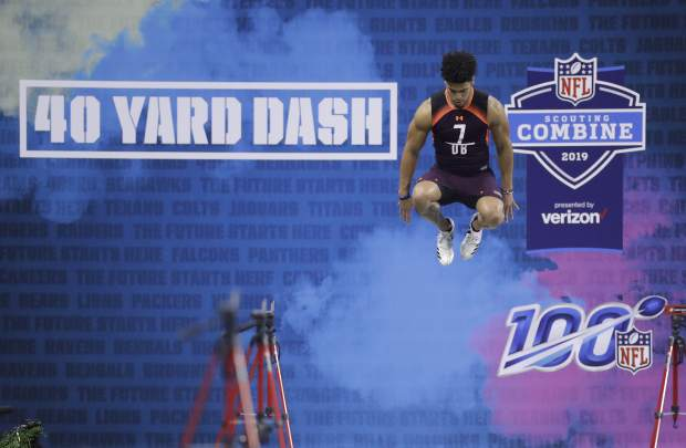 South Dakota State defensive back Jordan Brown jumps before running the 40-yard dash during the NFL football scouting combine, Monday, March 4, 2019, in Indianapolis. (AP Photo/Darron Cummings)