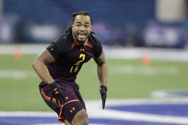 Texas Tech linebacker Dakota Allen runs a drill during the NFL football scouting combine, Sunday, March 3, 2019, in Indianapolis. (AP Photo/Darron Cummings)