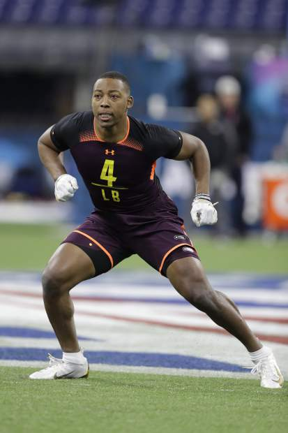 South Carolina linebacker Bryson Allen-Williams runs a drill during the NFL football scouting combine, Sunday, March 3, 2019, in Indianapolis. (AP Photo/Darron Cummings)