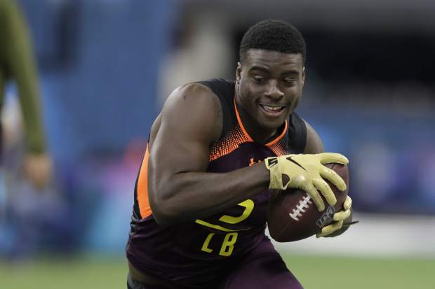 Fresno State linebacker Jeff Allison runs a drill during the NFL football scouting combine, Sunday, March 3, 2019, in Indianapolis. (AP Photo/Darron Cummings)