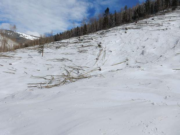 The force of the avalanche carried snow up the opposite or east side of Conundrum Valley. It will had enough power to snap off several trees.
