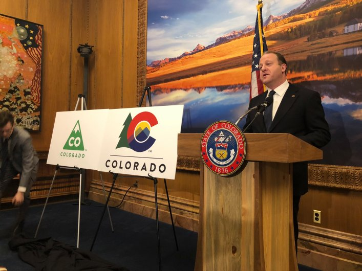 Gov. Jared Polis unveils new Colorado logo