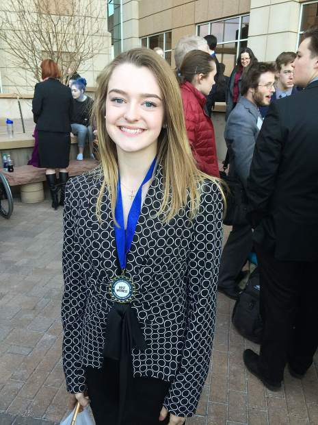 Glenwood Springs High School student Libby Claassen won a Best Witness award at the Colorado mock trial state championship in Golden Saturday.