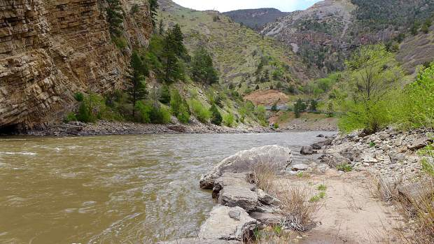 A view looking downriver on the Colorado River at Horseshoe Bend, just east of Glenwood Springs.