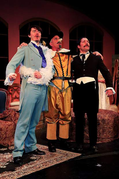"Joshua Adamson (as Gustave-Hippolite Worms), Gary Ketzenbarger (as Benoit Constant Coquelin) and James Steindler (as Flavio Andò), left to right, appear in the farce ""The Ladies of the Camellias,"" which opens at Colorado Mountain College Spring Valley April 5. The play from Sopris Theatre Company at CMC runs through April 13. Tickets are available at eventbrite.com or by emailing svticketsales@coloradomtn.edu. Photo Scot Gerdes"