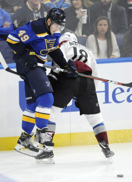 St. Louis Blues' Ivan Barbashev, of Russia, collides with Colorado Avalanche's Derick Brassard (18) during the third period of an NHL hockey game, Monday, April 1, 2019, in St. Louis. (AP Photo/Bill Boyce)