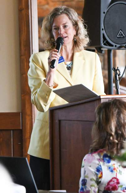 Keynote speaker Carrie Besnette Hauser gave her address at the start of the Athena Award ceremony at Aspen Glen Friday afternoon.
