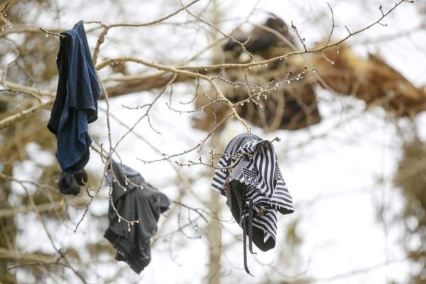 Clothing hang in the tree at least 20 feet in the air as a result of the explosion Wednesday, April 3, along Royal Tiger Road in Breckenridge. Around 1:30 a.m. Wednesday, the house exploded to an apparent rupture in the home's gas line. Two people were sleeping inside and were only injured.