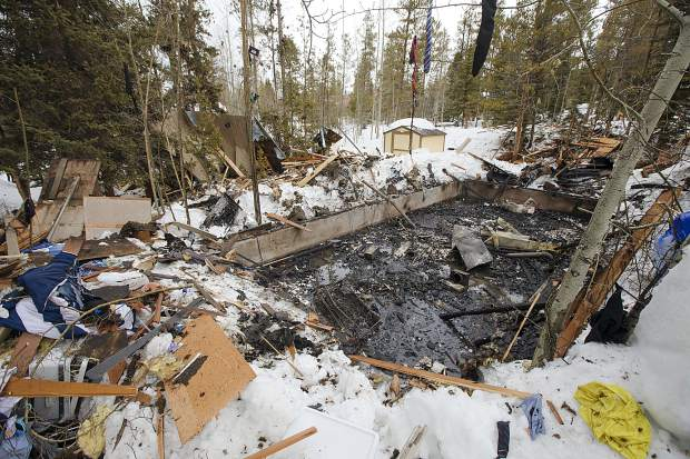 Debris surround the foundation of the house seen on Wednesday, April 3, along Royal Tiger Road in Breckenridge. Around 1:30 a.m. Wednesday, the house exploded to an apparent rupture in the home's gas line. Two people were sleeping inside and were only injured.