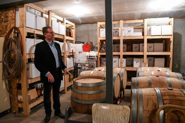 Mike Gamba talks about the two-year storing process for the wine he produces.