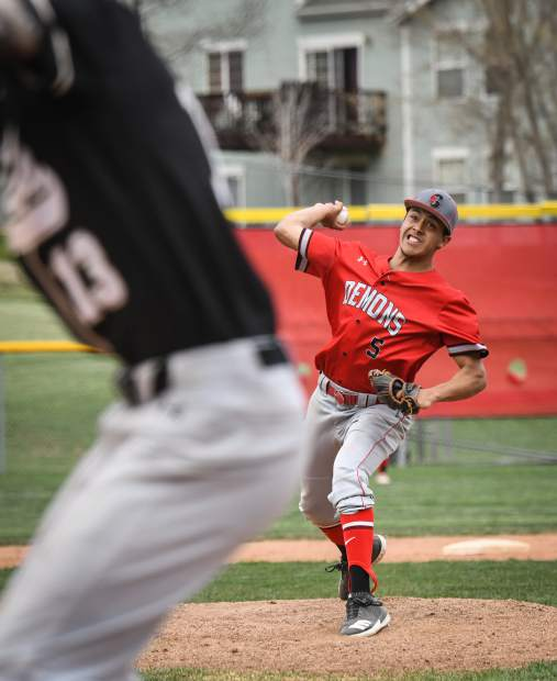 Glenwood Springs Demon Sebastian Gonzalez pitches in the second inning of Tuesday's game against the Battle Mountain Huskies.