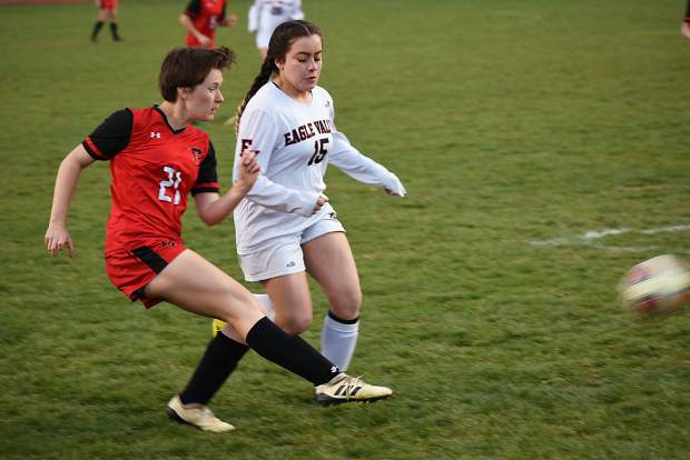 Glenwood junior defender Celia Scruton fires a cross into the middle of the field during Thursday's 4A Western Slope League game against Eagle Valley at Stubler Memorial Field.