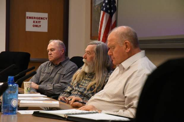 Garfield County commissioners listen as Representatives David Schwartz and Chris Cares give a presentation on housing needs in the Roaring Fork Valely region on Tuesday morning.