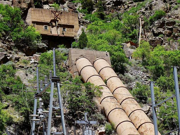 The penstocks that carry water from the tunnel in the Glenwood Canyon cliffs down to the turbines in the Shoshone hydropower plant, located on the Colorado River just off of Interstate 70. Between April 5 and Sunday, operators at Xcel Energy powered the plant down, and then back up, in order to repair a leak in an adit, or access point, in the two-mile-long tunnel that brings water from a dam upstream to the penstocks.