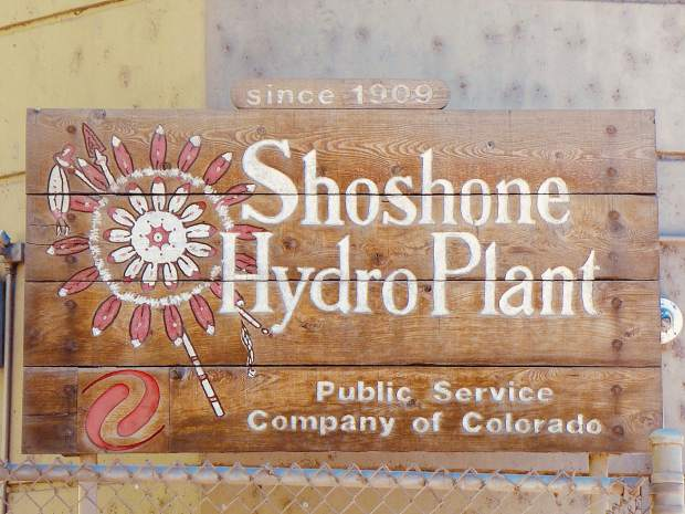 A mellow-looking sign located outside the Shoshone hydropower plant, owned and operated by Xcel Energy, which took over what it calls the Shoshone Generating Station from Public Service Company of Colorado. The hydro plant was fully offline for part of last week, but an agreement between regional water managers kept flows in the Colorado River consistent with the plant's senior nonconsumptive water rights for 1,250 cubic feet per second.