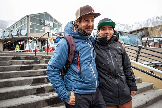 Jean Baptiste Cappa, left, and Javier Cofian stand at the base of Aspen Mountain. Cofian, a ski patroller from Bariloche, Argentina, spent the season at Aspen Mountain. Cappa, a patroller from Chamonix, France, worked at Snowmass.