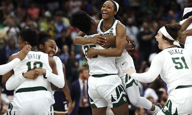 Baylor players celebrate after defeating Notre Dame in the Final Four championship game of the NCAA women's college basketball tournament Sunday, April 7, 2019, in Tampa, Fla. Baylor won 82-21. (AP Photo/Chris O'Meara)