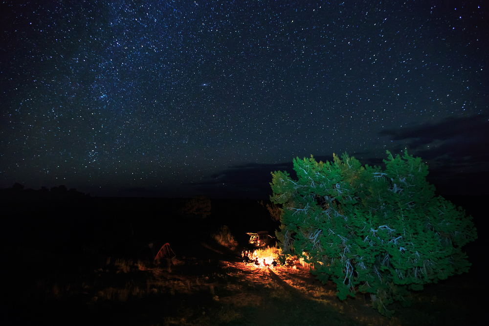 Campfire under the stars in the Utah